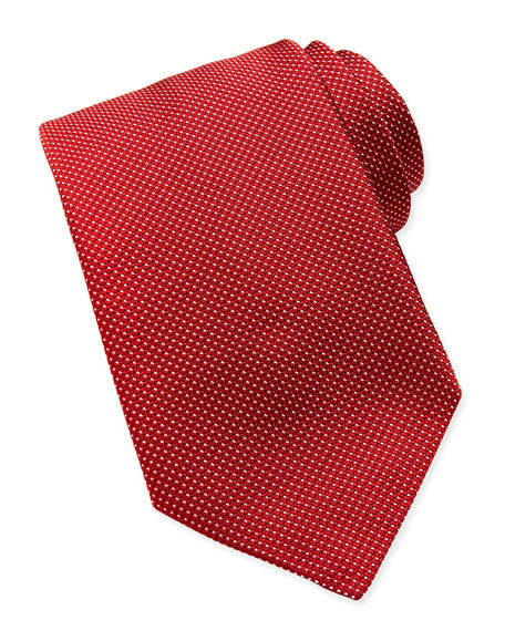 Woven Tonal-Pindot Tie, Red