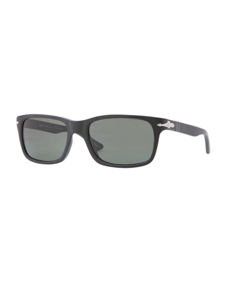 Rectangular Plastic Sunglasses, Black Antique