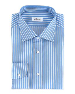 Brioni Rope-Stripe Woven Dress Shirt, Blue
