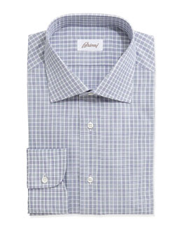 Brioni Check-Plaid Long-Sleeve Poplin Dress Shirt, Blue