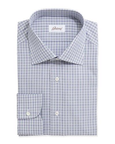 Brioni Check-Plaid Long-Sleeve Poplin Dress Shirt, Blue