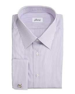 Brioni Rope-Stripe French-Cuff Shirt, Purple