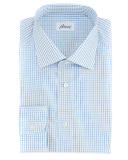 Brioni Mini-Check Woven Dress Shirt, White/Blue
