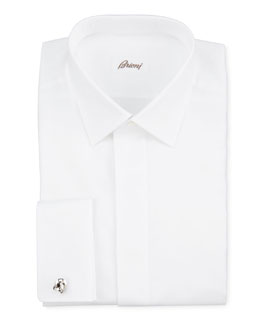 Brioni Oxford French-Cuff Dress Shirt, White