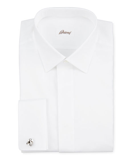 Brioni Oxford French-Cuff Dress Shirt, White