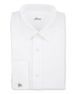 Brioni Twill French-Cuff Trim-Fit Shirt, White