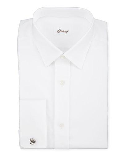 Twill French-Cuff Trim-Fit Shirt, White