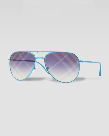 Check-Lens Folding Pilot Sunglasses, Blue