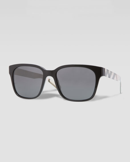 Burberry Square Check-Arm Sunglasses, Black/Gold