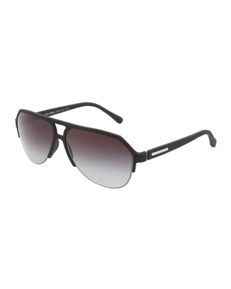 Molded Rubber Pilot Sunglasses, Black