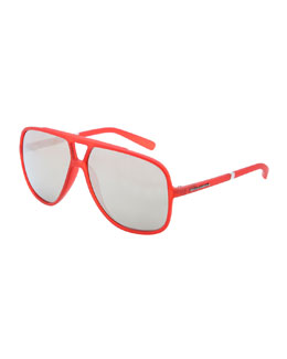 Dolce & Gabbana Squared Double Bridge Sunglasses, Red/Gray
