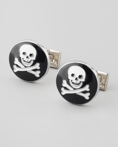 Skull and Crossbones Cuff Links, Black