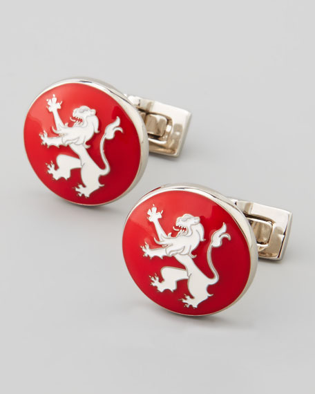 Rampant Lion Cuff Links, Red