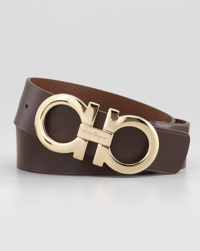 Salvatore Ferragamo Large-Gancini-Buckle Belt, Tan