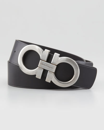 Large-Gancini-Buckle Belt, Black