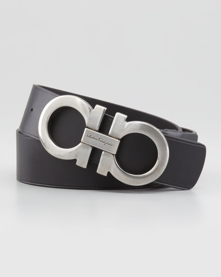 Salvatore Ferragamo Large-Gancini-Buckle Belt, Black
