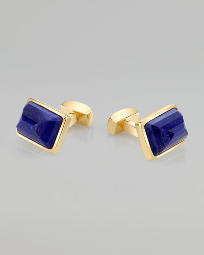 Emerald-Cut Lapis 18k Yellow Gold-Plated Cuff Links