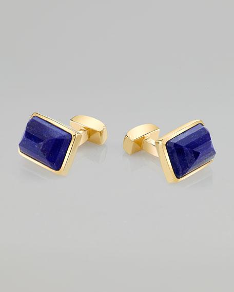 Emerald-Cut Lapis 18k Yellow Gold-Plated Cuff Links