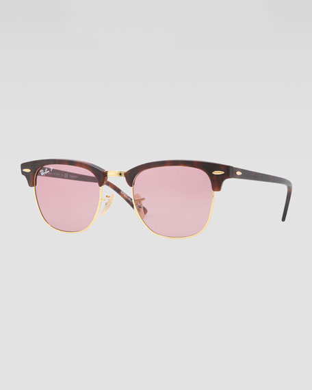 pink clubmaster sunglasses  Ray-Ban Classic Clubmaster Sunglasses, Matte Havana/Pink