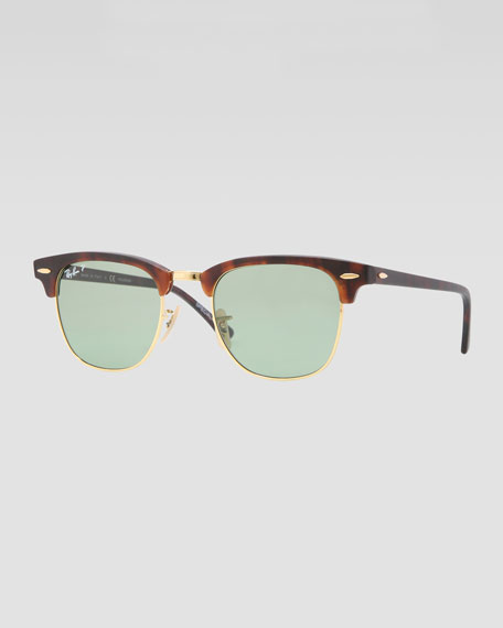 Classic Clubmaster Sunglasses, Matte Havana/Green