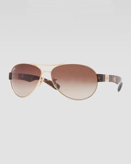 Metal Pilot Sunglasses, Golden/Brown