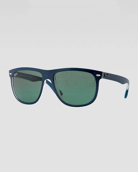Flat-Top Boyfriend Sunglasses, Blue/Green
