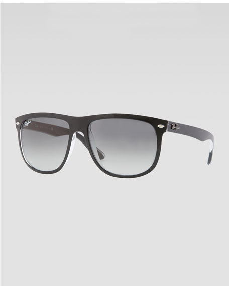 Flat-Top Boyfriend Sunglasses, Black/Gray
