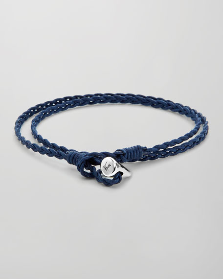 Sterling Silver-Toggle Waxed Cotton Wrap Bracelet, Blue