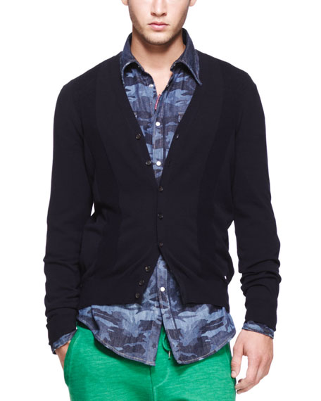 V-Neck Knit Cardigan, Navy