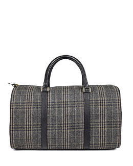 Sandast Boston Plaid Duffel Bag, Gray