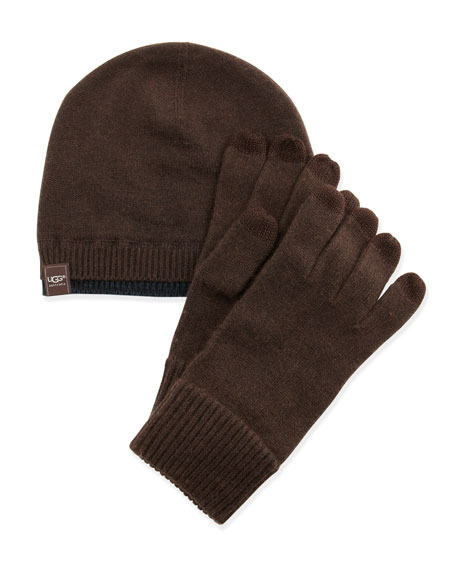 Men's Knit Hat & Touch-Screen Gloves Set, Brown