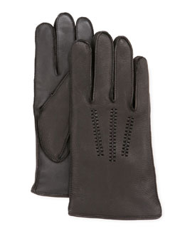 UGG Australia Men's Leather Gloves with Conductive Palm, Black
