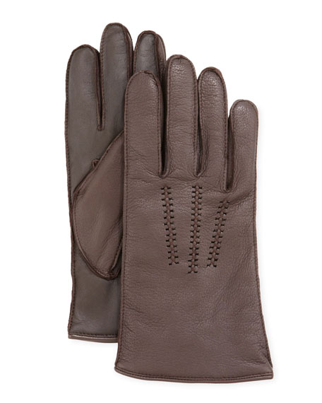 Men's Leather Gloves with Conductive Palm, Brown