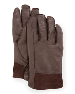 UGG Australia Men's Gibson Leather Gloves, Brown