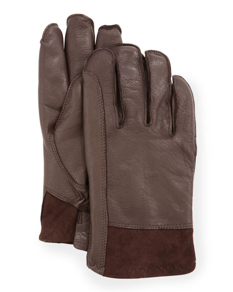 Men's Gibson Leather Gloves, Brown