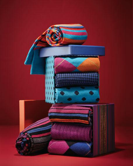 Men's 4-Pair Boxed Sock Set, Purple Multi