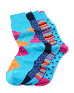 Neiman Marcus Men's 4-Pair Boxed Sock Set, Blue Multi