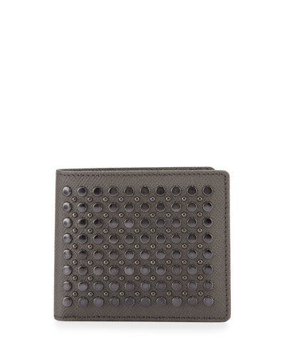 Burberry Studded Leather Bi-Fold Wallet, Gray