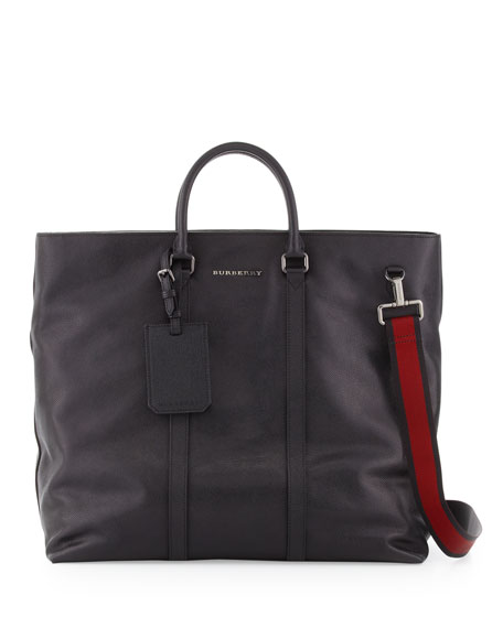 Men's Large Webbed-Strap Leather Tote Bag, Black