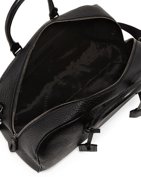 Men's Coarse-Grain Leather Duffel Bag, Black