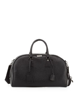 Burberry Men's Coarse-Grain Leather Duffel Bag, Black