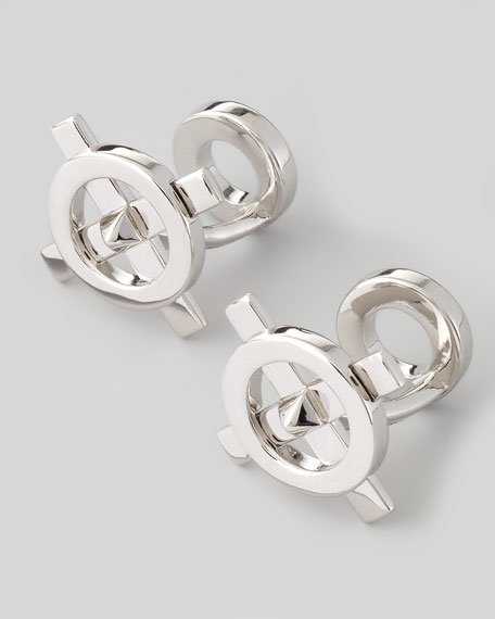 Compass Cuff Links, Silver