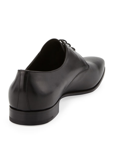 Leather Square-Toe Lace-Up, Black
