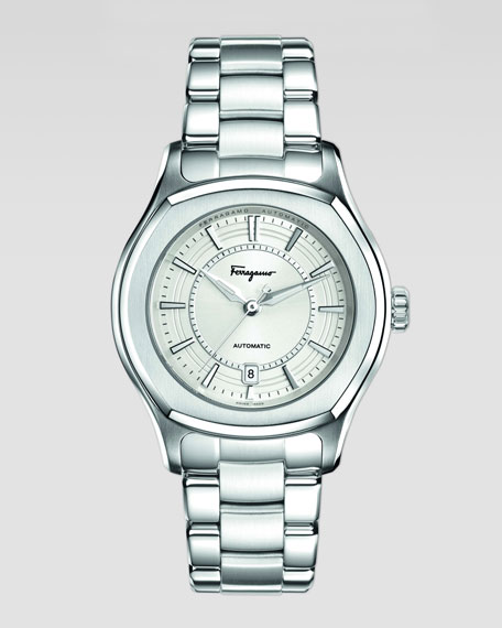 Stainless Steel Watch with Silver-Tone Dial