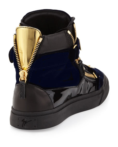 Men's Velvet Hi-Top Sneaker with Gold Strap, Navy