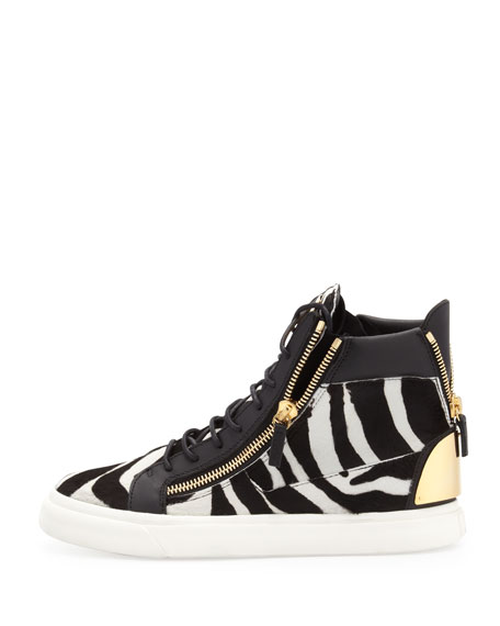 Men's Zebra-Print High-Top Sneaker, Black/White