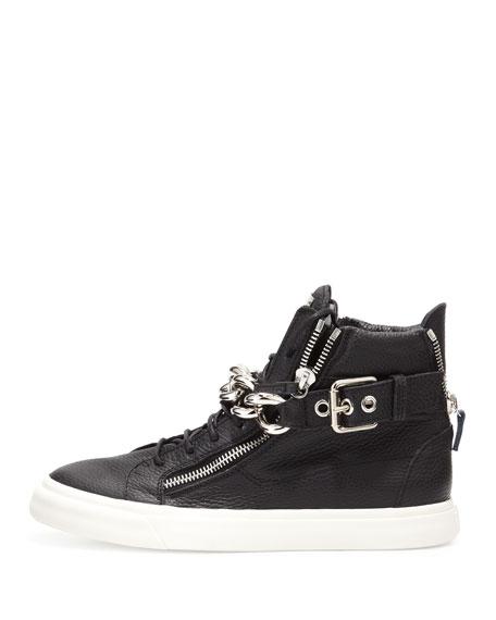 Chain & Zipper Leather High-Top, Black
