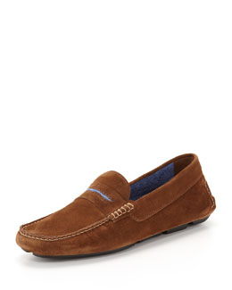Manolo Blahnik Men's Roadster Suede Driver Loafer, Brown/Blue