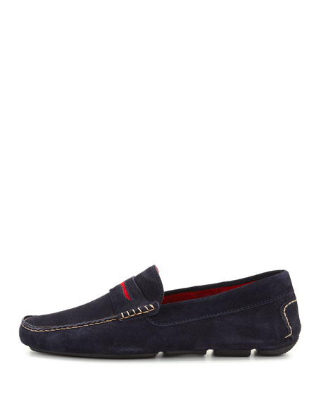 Men's Roadster Suede Driver Loafer, Navy/Red