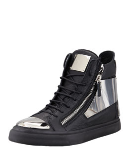 Giuseppe Zanotti Leather Silver-Plate Zip High-Top